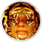 Tigress Round Beach Towel