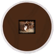 Tiki In The Old Barrel Round Beach Towel