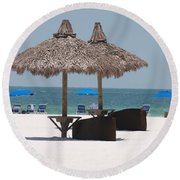 Tiki On The Gulf Round Beach Towel