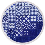 Tile Blue Background Round Beach Towel by Ariadna De Raadt