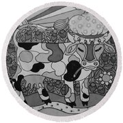 Tile Cow Round Beach Towel