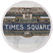 Tile Mosaic Sign, Times Square Subway New York, Handmade Sketch Round Beach Towel