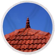 Tiled Roof Near Ooty, India Round Beach Towel