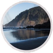 Tillamook Head Reflection Round Beach Towel