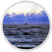Tillamook Rock Lighthouse Round Beach Towel