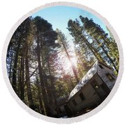 Tilted House, Real Estate Series Round Beach Towel