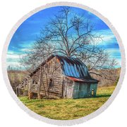 Tilted Log Cabin Round Beach Towel