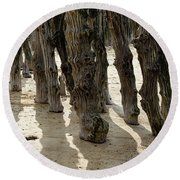 Timber Textures Lll Round Beach Towel