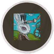 Time Flies For The White Rabbit Round Beach Towel