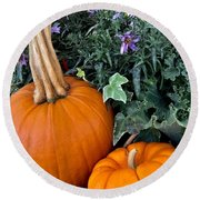 Time For Pumpkins In The Flower Beds Round Beach Towel