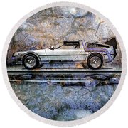 Time Machine Or The Retrofitted Delorean Dmc-12 Round Beach Towel