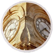 Time On My Side Round Beach Towel
