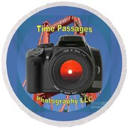 Time Passages Logo Round Beach Towel