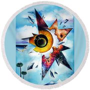 Time. Shattered Pieces Round Beach Towel