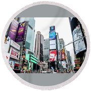 Time Square Round Beach Towel