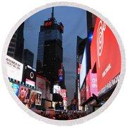 Time Square New York City Round Beach Towel