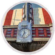 Time Theater Marquee 1938 Round Beach Towel