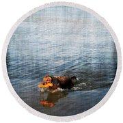 Time To Fetch Round Beach Towel by Joan  Minchak