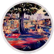 Time To Relax And Have Some Fun Round Beach Towel