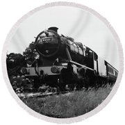 Time Travel By Steam B/w Round Beach Towel