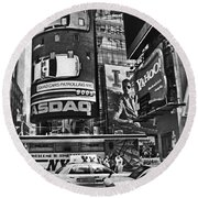 Times Square Black And White Round Beach Towel