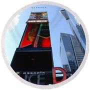 Times Square Cops Round Beach Towel