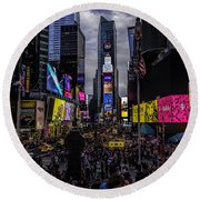 Times Square From The Steps Round Beach Towel