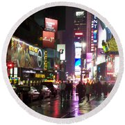 Times Square In The Rain 1 Round Beach Towel