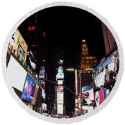 Times Square New York City New Years Eve Round Beach Towel