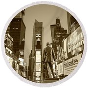 Times Square Ny Overlooking The Square Sepia Round Beach Towel