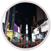Times Square On A Tuesday. Round Beach Towel
