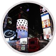 Times Square On News Year Eve Round Beach Towel