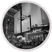 Times Square Subway Stop At Night New York Ny Black And White Round Beach Towel