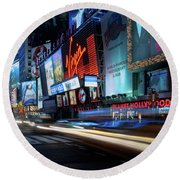 Times Square With Light Trail Round Beach Towel