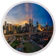 Timeslice Of Day To Night Of Kuala Lumpur City Round Beach Towel