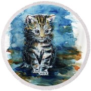Timid Kitten Round Beach Towel