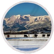 Timpanogos From The North Fields Round Beach Towel