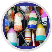 Tin Shed Floats Round Beach Towel