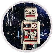 Tin Toy Robots Round Beach Towel