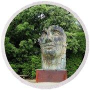 Tindaro Screpolato Sculpture In Boboli Garden 0197 Round Beach Towel