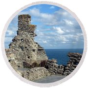 Tintagel Castle 1 Round Beach Towel