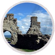 Tintagel Castle 2 Round Beach Towel