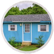 Tiny Blue House Round Beach Towel
