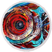 Tiny Blue Pill Round Beach Towel