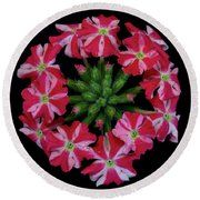 Tiny Bunch Of Red And Pink Flowers Round Beach Towel