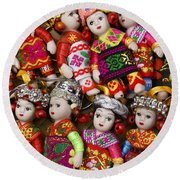 Tiny Chinese Dolls Round Beach Towel