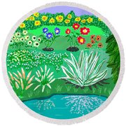 Tiny Garden  Round Beach Towel