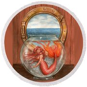 Tiny Mermaid Round Beach Towel