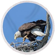 Tip Toeing Across Nest Round Beach Towel