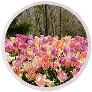 Tiptoe Among The Tulips Round Beach Towel